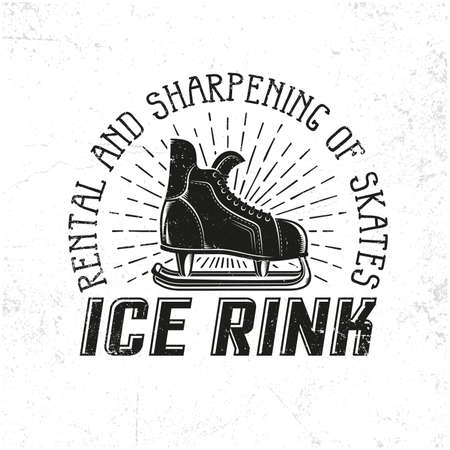Retro hockey skate as an emblem for the ice rink. Grange texture on a separate layer and easily deactivated.