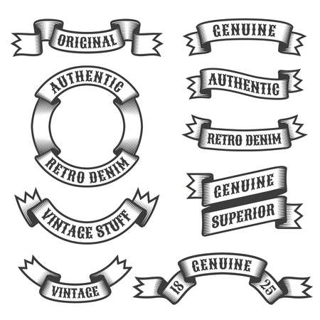 quality guarantee: Authentic retro vintage ribbons and banners on white background. Vector illustration.