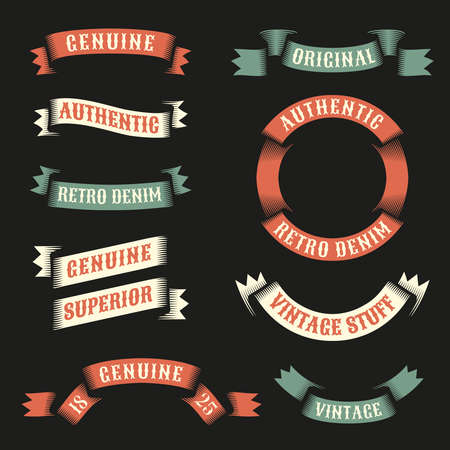 Original vintage ribbons for logos, emblems with examples of inscriptions. Vector illustration.