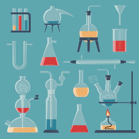 A set of various chemical glassware and devices. Vector color illustration.