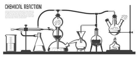 Un proceso químico complejo en cristalería especial y dispositivos en el laboratorio científico. Ilustración vectorial en blanco y negro. Ilustración de vector