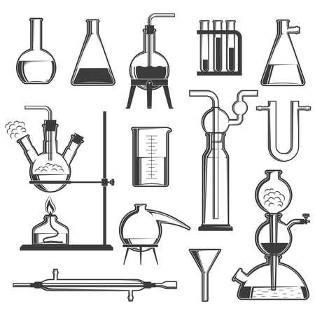un ensemble de verrerie chimique et des attaches noir et blanc . vector illustration