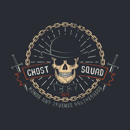 Ghost squad words with skull wearing hat and knives in chains. Vector illustration. Worn texture on a separate layer and can be easily disabled.