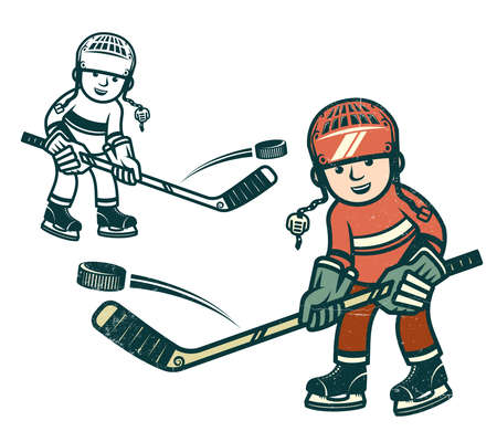 Boy hockey player in equipment. Vintage colors. Worn texture on a separate layer and can be easily disabled.