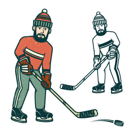 Casual hockey player with a beard. Retro, worn texture on a separate layer and can be easily disabled. Illustration