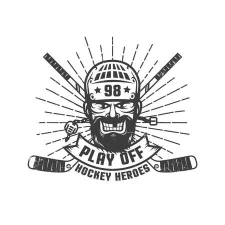 Hockey play off logo with bearded player in retro style. Worn texture on a separate layer and can be easily disabled. Illustration