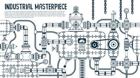 Grande machine industrielle steampunk avec de nombreux détails.
