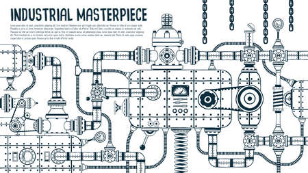 Big industrial steampunk machine with many details.