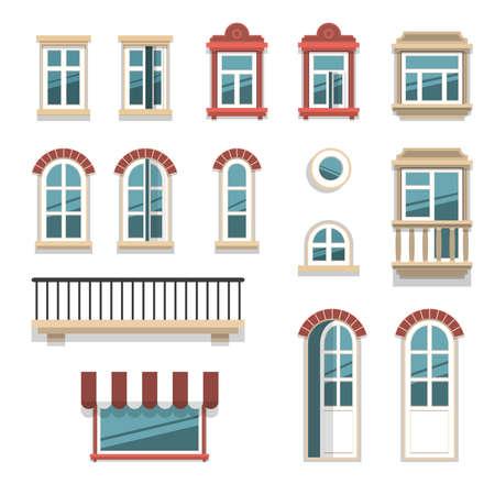 Verschillende open en gesloten ramen en deurelementen geïsoleerd op wit.