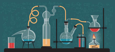 A complex chemical reaction, experiment. Composition of glass flasks and laboratory devices. Vector color illustration. Possible reconfiguration. Illustration