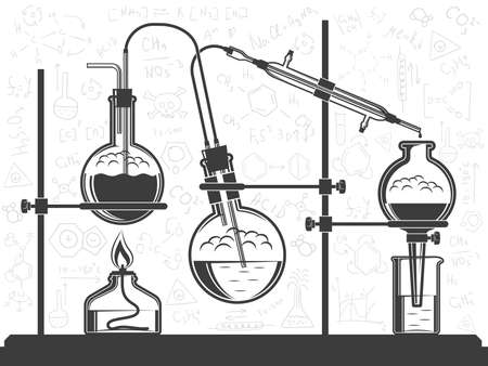 Composition of flasks, hoses, chemical elements, and spirit lamp - a scientific experiment in the laboratory.  Vector black and white illustration. Possible reconfiguration.