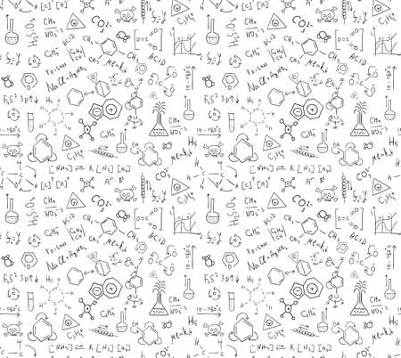 Seamless pattern of chaotically located chemical formulas, records, doodles. Included in swatches window. 免版税图像 - 82064638