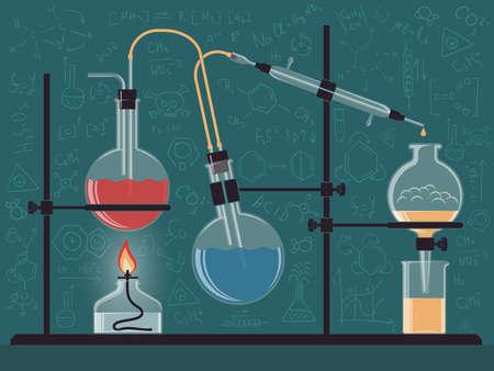 Gecombineerde structuur van chemische instrumenten en kolven in het wetenschappelijk laboratorium. Vector kleurenillustratie. Mogelijke herconfiguratie.