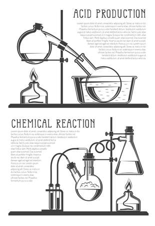 Composition of chemical flasks and instruments with text, in a scientific laboratory.  Vector black and white illustration. Possible reconfiguration.