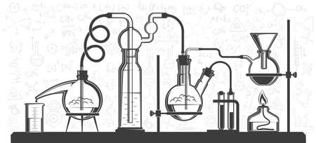 Frascos y dispositivos químicos, experimento científico en laboratorio. Ilustración de vector blanco y negro. Posible reconfiguración.