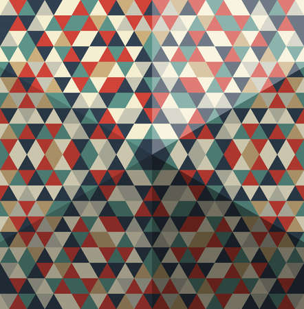 Whimsical pattern of triangular polygons, with hexagonal pyramid effect.