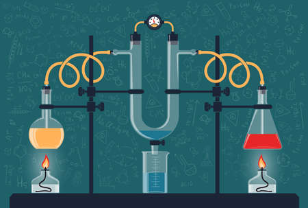 Composition of chemical flasks and a manometer in a scientific laboratory. Vector color illustration. Possible reconfiguration. Illustration