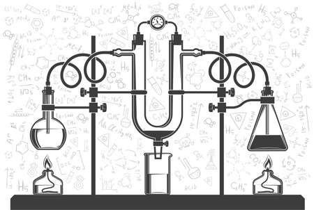 Chemical flasks and hoses in combination with a monometer in a scientific laboratory. Vector black and white illustration. Possible reconfiguration. Banco de Imagens - 81960095