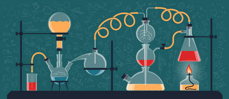 A composition of chemical flasks and devices in a scientific laboratory. Vector color illustration. Possible reconfiguration.