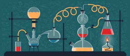 Una composizione di flaconi e dispositivi chimici in un laboratorio scientifico. Illustrazione vettoriale a colori Possibile riconfigurazione. Archivio Fotografico - 81960089