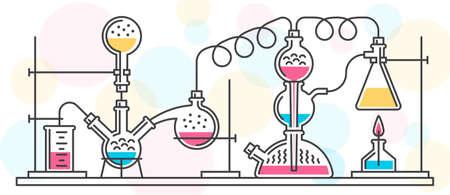 フラスコと化学実験室のツールで構成される化学反応は、線のスタイルで実行されます。ベクター カラー イラスト。再構成。