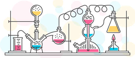 A chemical reaction consisting of flasks and tools in a chemical laboratory, performed in a line style. Vector color illustration. Possible reconfiguration.