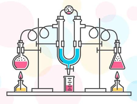 Composizione di palloni chimici, tubi e manometro in un laboratorio chimico. Illustrazione a colori vettoriale in stile linea. Possibile riconfigurazione. Archivio Fotografico - 81960307