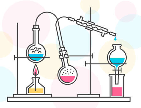 Process of chemical reaction in the scientific laboratory, consisting of flasks and hoses. Vector color illustration in a line style. Possible reconfiguration. Illustration