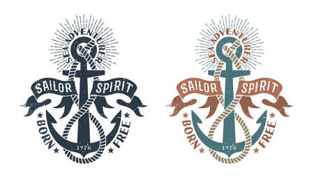 Marine retro emblem in the stamp style, Vintage logo with an anchor, rope and flapping ribbons. Illustration