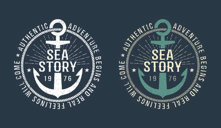 Marine round retro emblem in hipster style with anchor and inscriptions in black and white and color version. Çizim