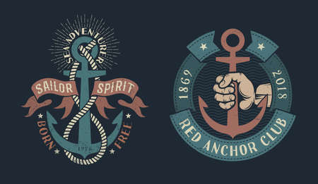 Two vintage nautical illustration with an anchor, heraldic ribbons, ropes, hand of sailor. Stock Vector - 85126607