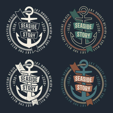 Set of marine retro emblems with anchor and ribbon on dark background. Rubbed texture on a separate layer and can be easily disabled. Stock Vector - 85127766