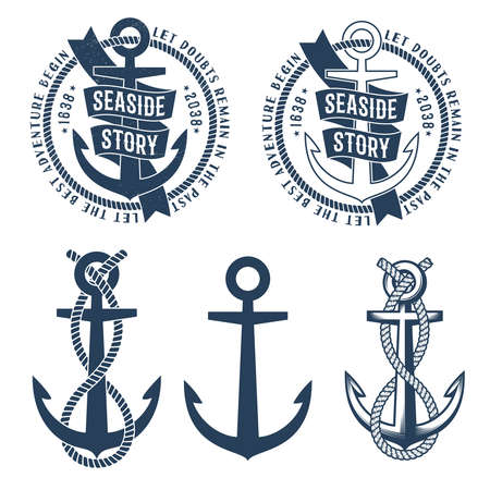 Anchor tattoo logos with ribbon, rope and seaside story words on it.  Retro nautical emblem. Rubbed texture on a separate layer and can be easily disabled. Фото со стока - 85127765