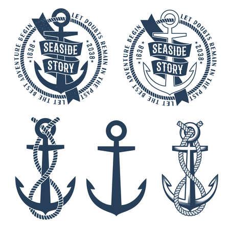 Logos de tatouage d'ancre avec des mots d'histoire ruban, corde et bord de la mer sur elle. Rétro emblème nautique. Texture frottée sur un calque séparé et peut être facilement désactivée. Banque d'images - 85127765