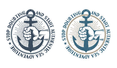 Sailors hand holds anchor in frame of rope. Original authentic marine retro logo. Shabby worn texture on a separate layer and can be disabled