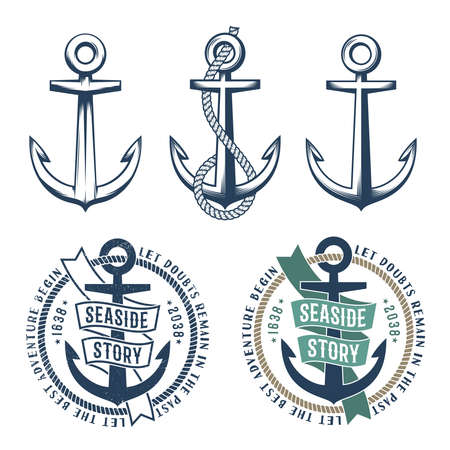 Set of 3 retro anchors with a rope and 2 vintage marine emblem tattoo on a white background. Rubbed texture on a separate layer and can be easily disabled. Stock Vector - 85127767