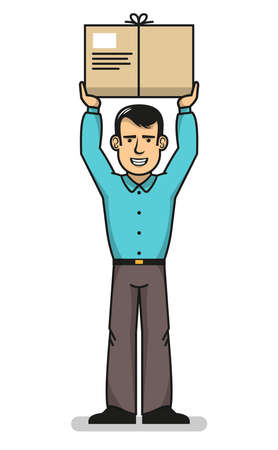 Smiling delivery man standing with hands up and holding box. Vector illustration.