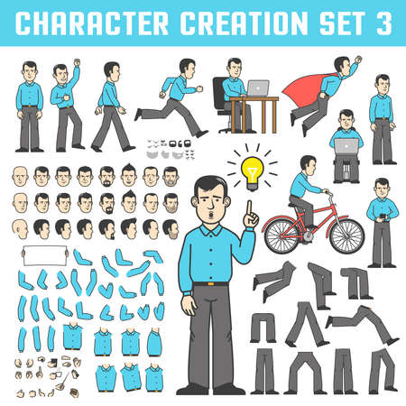 A man in a shirt and trousers in various poses. The office worker stands, runs, goes, rejoices, rides a bicycle, flies like a superhero. A set of body parts and faces to create a character. Illusztráció