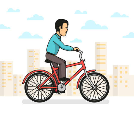 Side view of man in casual clothes taking a ride on red bike in city.  Vector illustration.