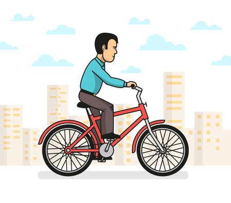 Zijaanzicht van de mens in vrijetijdskleding die een rit op rode fiets in stad nemen. Vector illustratie. Stockfoto - 85126458