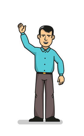 Cheerful man standing and waving with hand up showing greeting gesture.  Vector illustration. Illustration