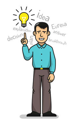 A smiling man in a shirt and trousers came up with an idea. Vector illustration in a line style. Stock Vector - 85127804