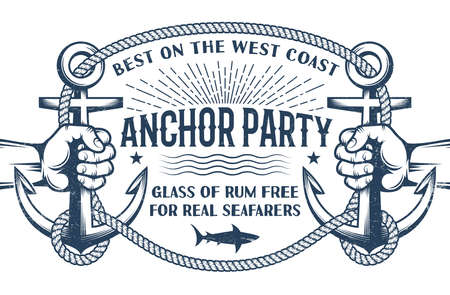 Vintage nautical poster with hands holding ship anchors and a frame of rope with inscriptions inside. Retro Marine Concept. Worn effect on separate layer and can be disabled. Illustration