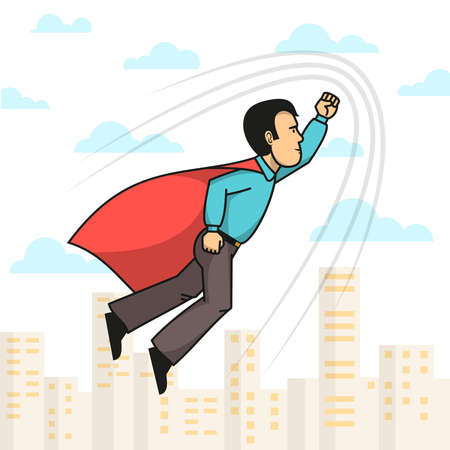 Side view of superhero man wearing red cloak with hand up flying over city. Vector illustration. Illustration