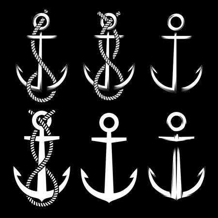 Set of different vintage white colored anchors on black background with and without rope.  Ilustrace