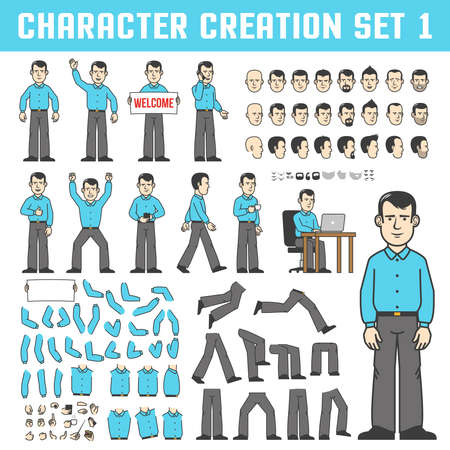 Character creation set. A man in a shirt and trousers in various poses - stands, goes, drinks coffee, and works both. Individual parts of the body and face in different positions. Stock Vector - 85126783