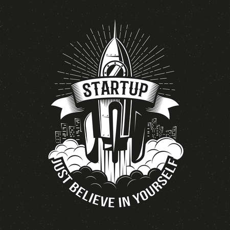 Startup vintage logo with a rocket taking off over the city on a black background. Vector illustration.