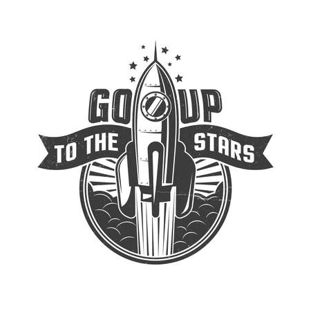 Rocket flying to the stars -  round logo in retro oldschool style.