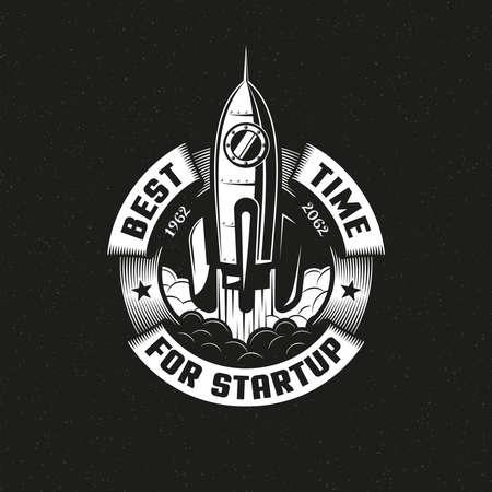 Startup rocket round logo on black background. Vector illustration. Stock Vector - 85126995