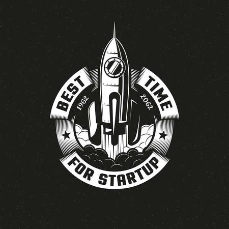 Startup rocket round logo on black background. Vector illustration. Stock Vector - 85126995